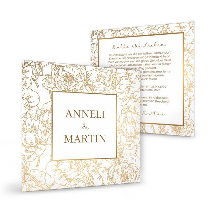 Florale Einladung zur goldenen Hochzeit in Goldoptik