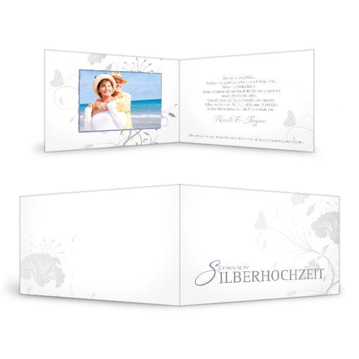 Einladungskarte zur Silberhochzeit mit floralem Muster