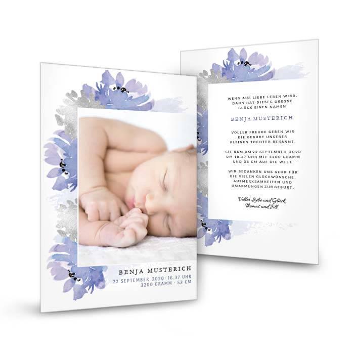 Florale Geburtskarte mit großem Foto in Graublau und Silber