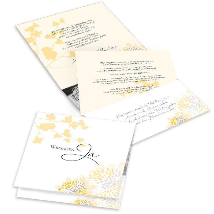 Romantische Pocket Fold Hochzeitseinladung mit gelben Blüten