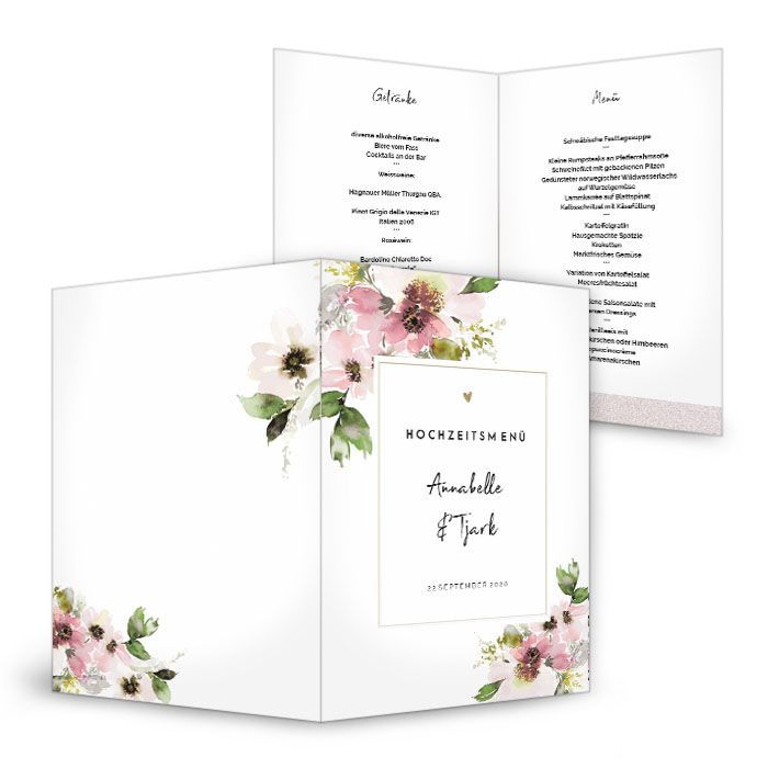 Florale Menükarte zur Hochzeit im rosa Aquarelldesign