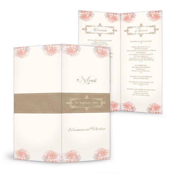 Menükarte zur Vintage Hochzeit mit Blüten in Apricot