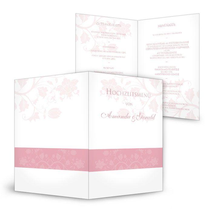 Menükarten zur Hochzeit mit floralem Design in Rosa
