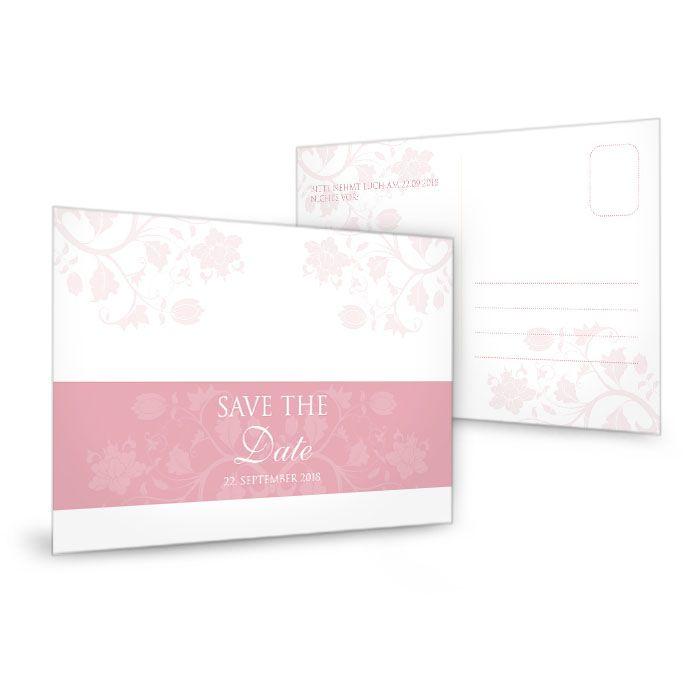 Save the Date Karte zur Hochzeit mit floralem Design in Rosa