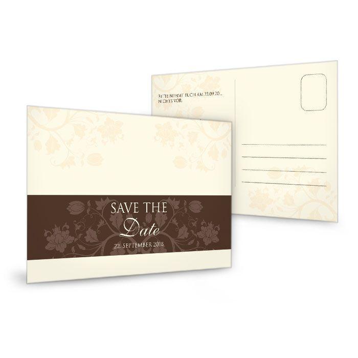 Save the Date Karte zur Hochzeit mit floralem Design in Creme