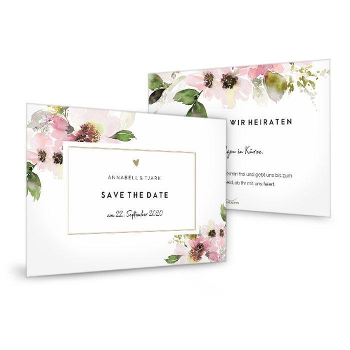 Florale Save the Date Karte zur Hochzeit mit rosa Blumen