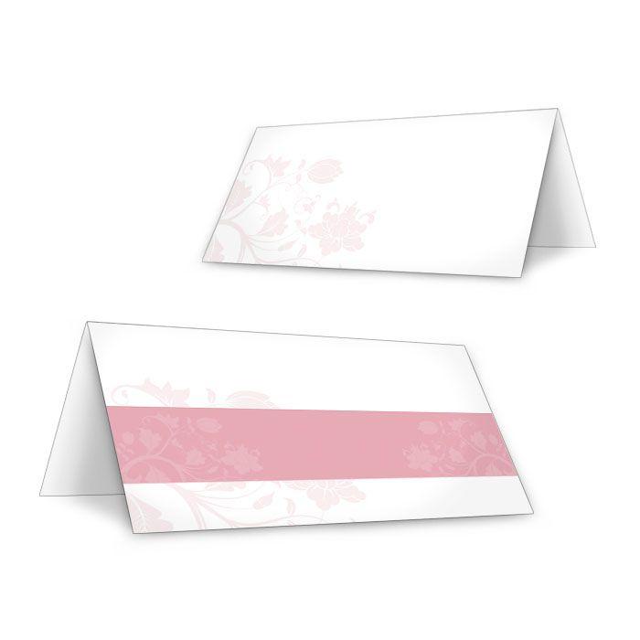 Tischkarten zur Hochzeit mit floralem Muster in Rosa