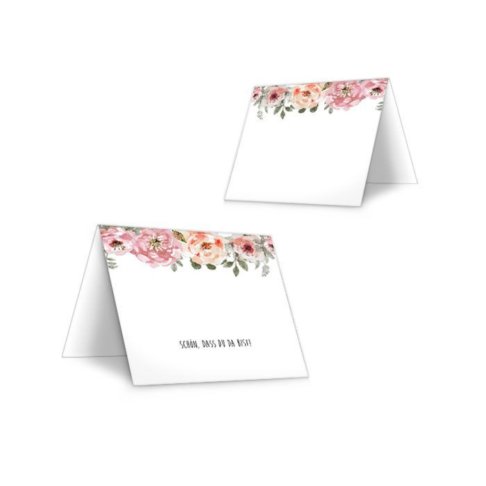 Vintage Tischkarte zur Hochzeit mit Rosen im Aquarelldesign