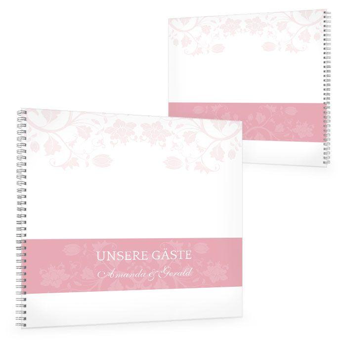 Gästebuch zur Hochzeit mit floralem Design in Rosa