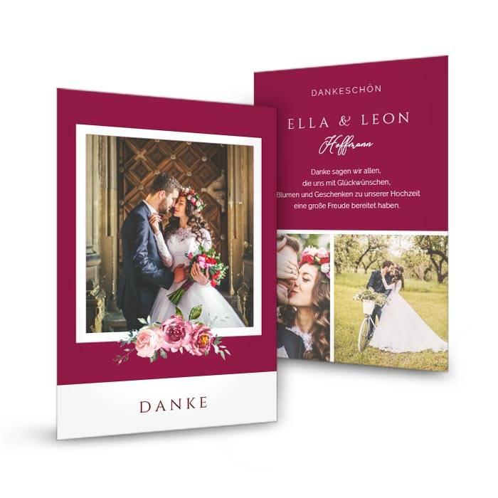 Foto Danksagung zur Hochzeit als Postkarte in Bordeaux mit Blumen