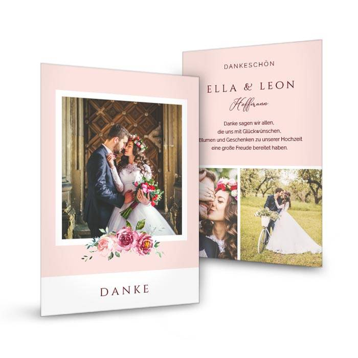 Foto Danksagung zur Hochzeit als Postkarte in Rosa mit Aquarell Blumen