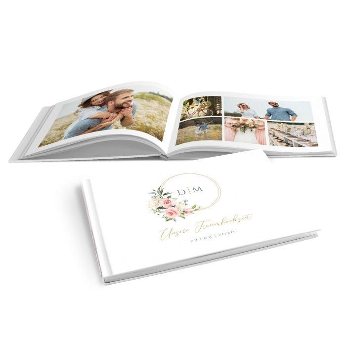 Fotobuch mit Goldreif, rosan Rosen und Hortensien