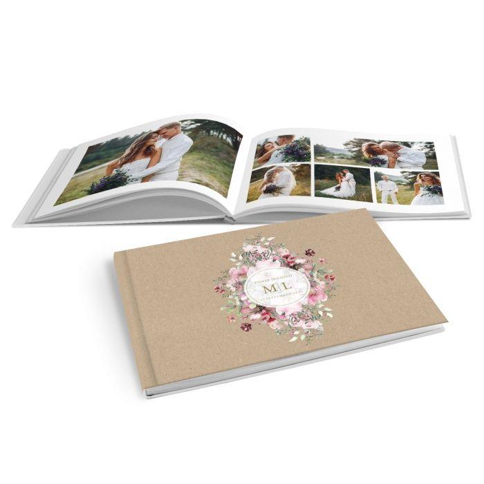 Fotobuch zur Hochzeit im Kraftpapier Look mit Blumen - online selbst gestalten
