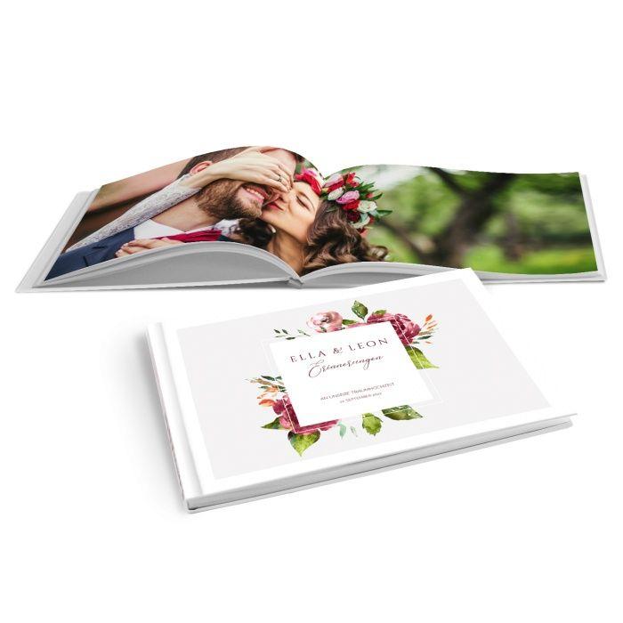 Fotobuch zur Hochzeit mit Aquarell Blumen - online selbst gestalten