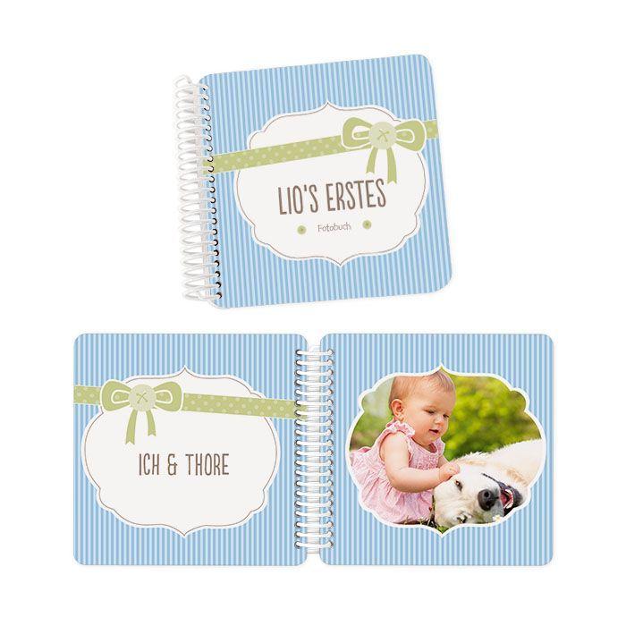 Fotobuch für Kinder mit extra dicken Seiten in Hellblau gestreift