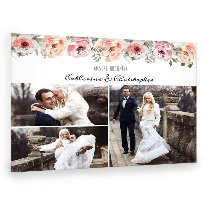 Fotocollage zur Hochzeit mit Aquarellblumen im Vintagestil