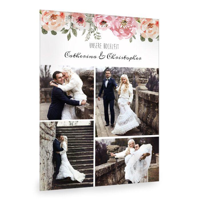 Fotocollage zur Hochzeit im Vintagestil mit Aquarellblumen