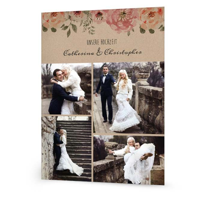 Fotocollage für die Hochzeitsbilder in Kraftpapieroptik