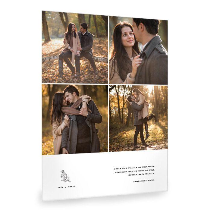 Moderne Fotocollage mit romantischem Spruch und Zweig Element