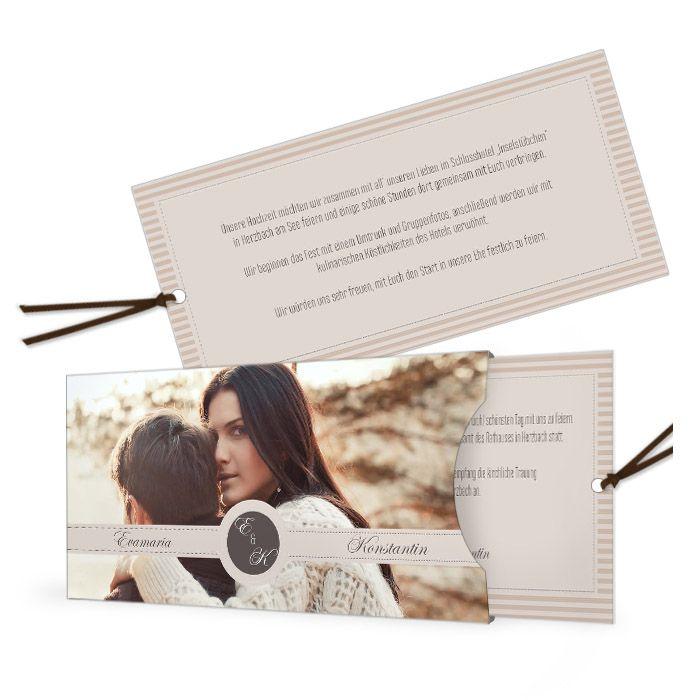 Einladung zur Hochzeit im Vintage Streifendesign in Braun