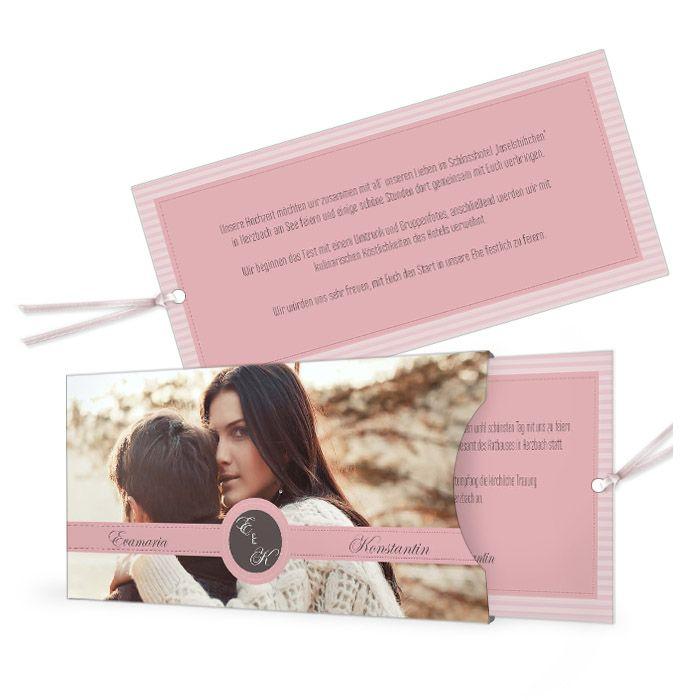 Einladung zur Hochzeit im Vintage Streifendesign in Rosa