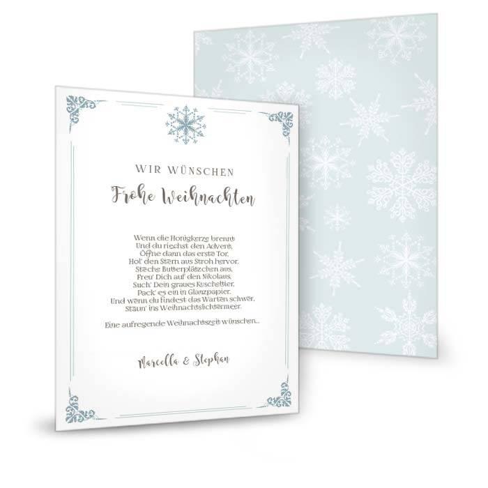 Weihnachtskarte mit Eiskristallen in Minzcreme