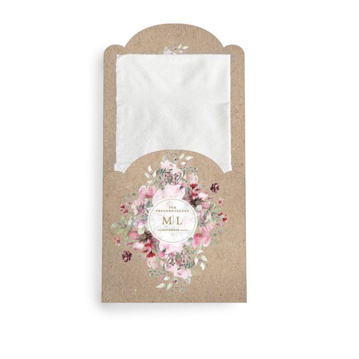 Für Freudentränen - Taschentuchhülle in Kraftpapieroptik und Blumen