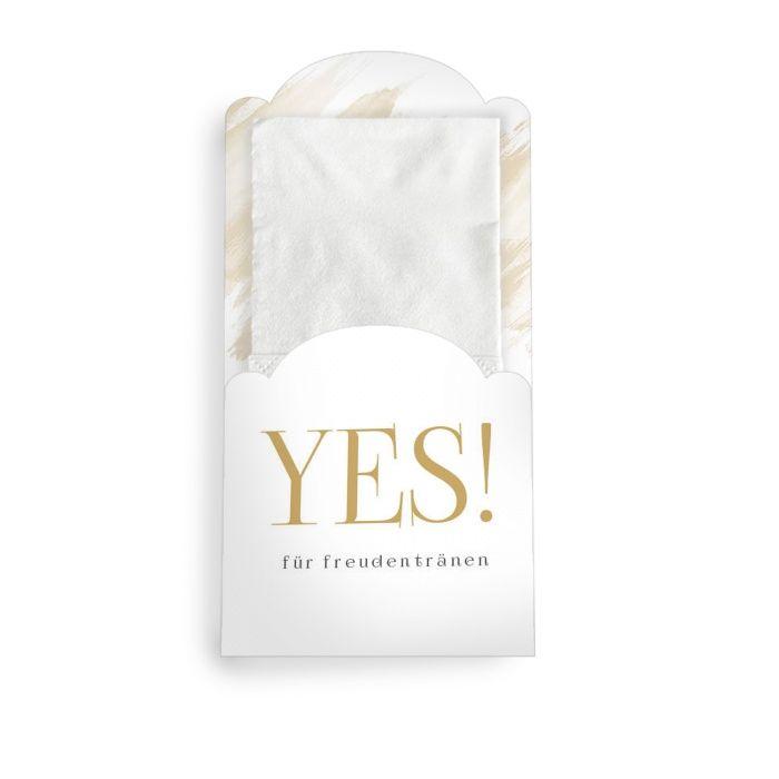 Für Freudentränen - moderne Taschentuchhülle mit YES Schriftzug