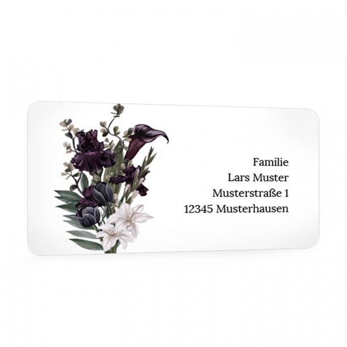 Für Ihre Trauerpost - Adressaufkleber mit Aquarelllilien