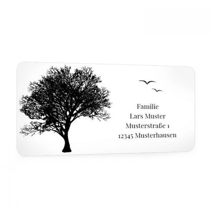 Für Ihre Trauerpost - Adressaufkleber mit Baumsilhouette