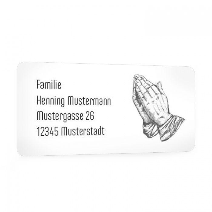 Für Ihre Trauerpost - Adressaufkleber mit betenden Haenden