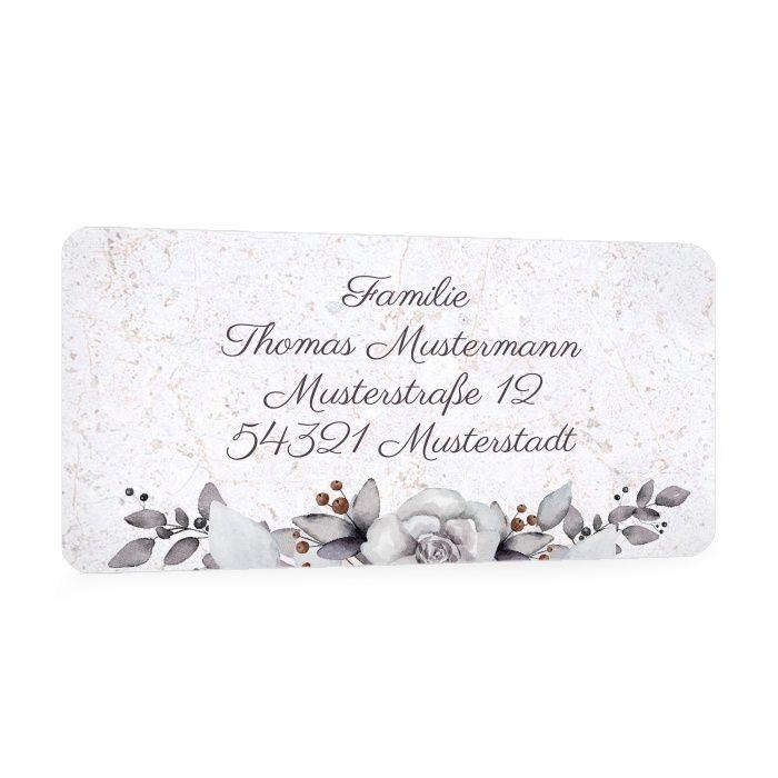 Für Ihre Trauerpost - Adressaufkleber mit Blumenbouquet