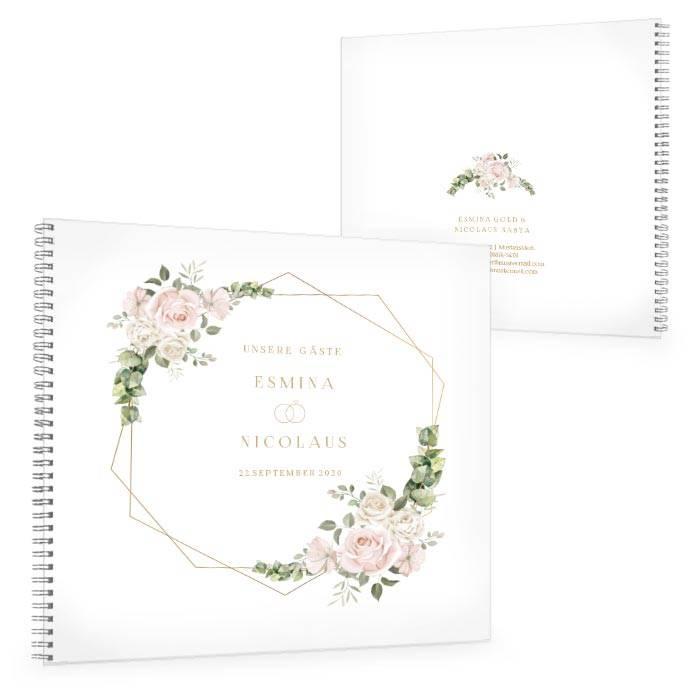 Gästebuch zur Hochzeit mit Aquarellrosen und Eukalyptus