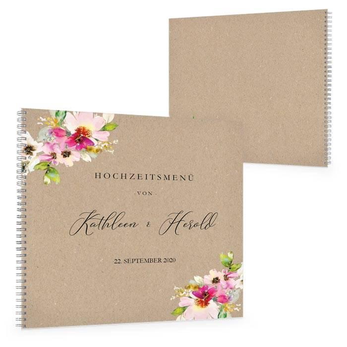 Gästebuch mit farbenfrohen Aquarellblumen und Kraftpapieroptik