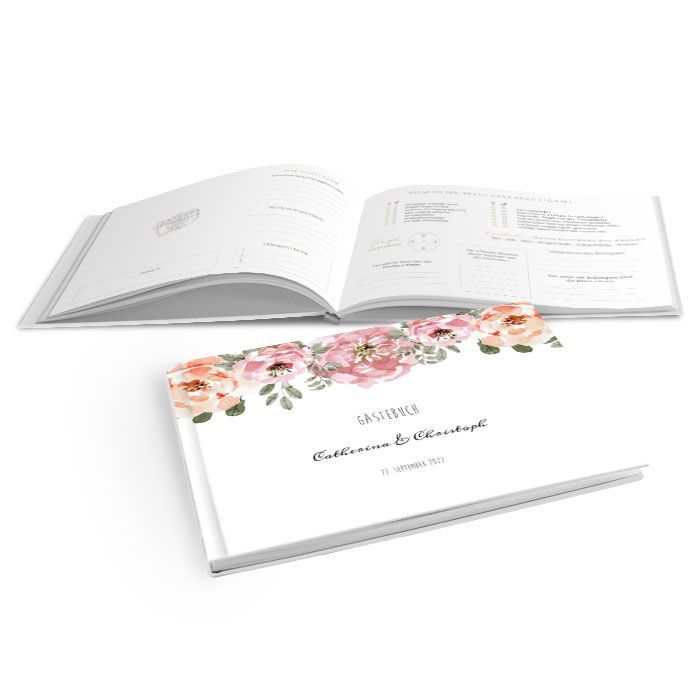 Gästebuch mit Hardcover zur Hochzeit mit Aquarellblumen