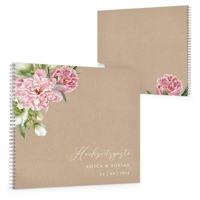 Gästebuch zur Hochzeit mit Pfingstrosen in Naturpapieroptik