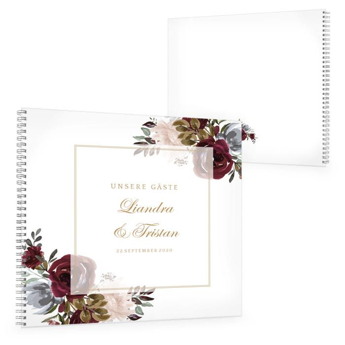 Gästebuch zur Hochzeit mit Aquarell Blumen in Burgunder