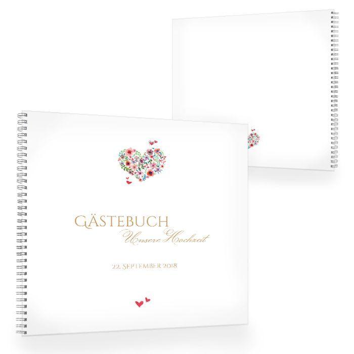 Gästebuch zur Hochzeit in Weiß mit Herz aus bunten Blüten