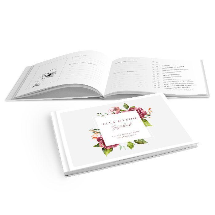 Hardcover Gästebuch mit herbstlichen Watercolor Blumen