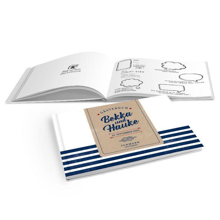 Hardcover Gästebuch mit blauen Streifen und Kraftpapier Design