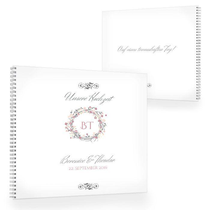 Gästebuch zur Vintage Hochzeit mit rosa Blumenkranz