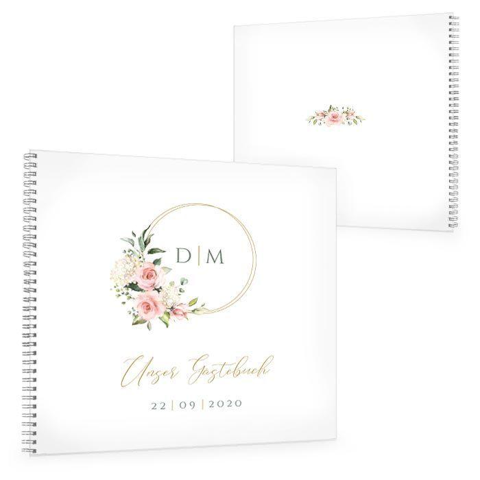 Gästebuch zur Hochzeit mit Goldreif, Rosen und Hortensien