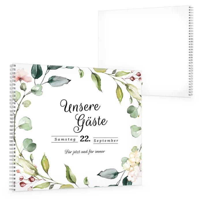 Großes Gästebuch zur Hochzeit im Greenery Stil mit Blättern