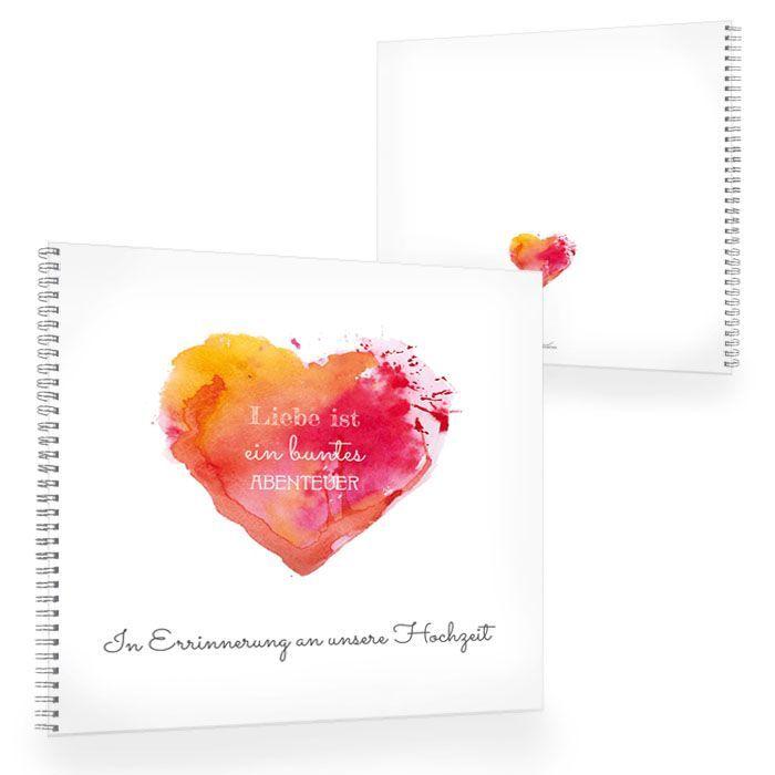 Gästebuch zur Hochzeit mit Watercolor Herz in Rot und Orange