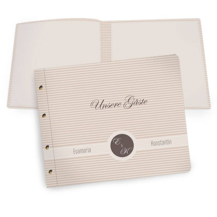 Großes Gästebuch im Vintage Streifen Design mit Monogramm