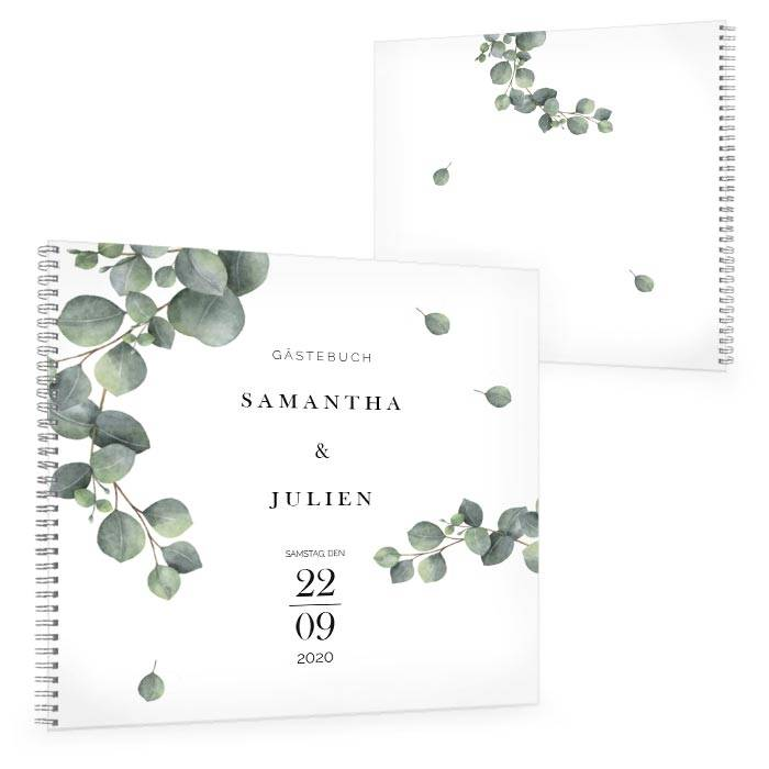 Gästebuch zur Hochzeit im Greenery Stil mit Eukalyptuszweig