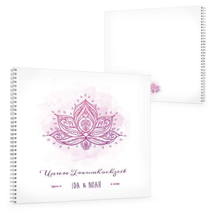 Gästebuch zur indischen Hochzeit mit Lotusblume in Lila