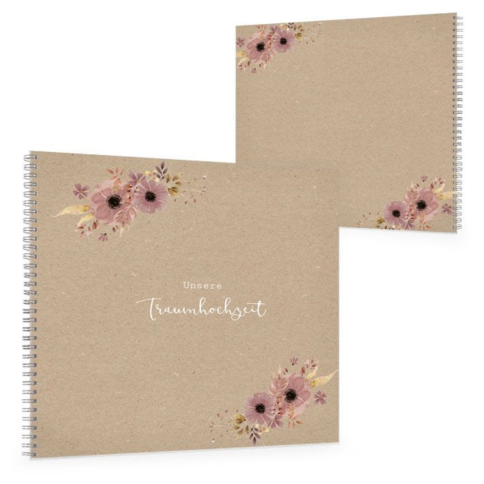 Hochzeits Gästebuch im Kraftpapiestil mit Aquarellblumen