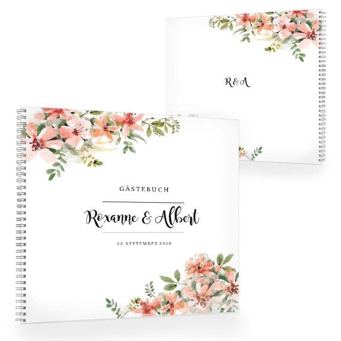 Vintage Gästebuch zur Hochzeit mit Aquarellblumen in Lachs