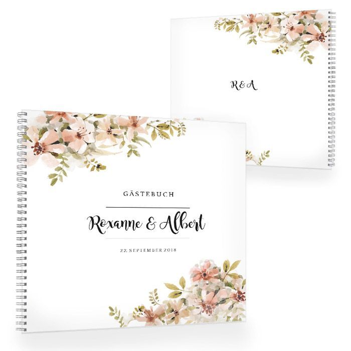 Vintage Gästebuch zur Hochzeit mit Aquarellblumen in Nude